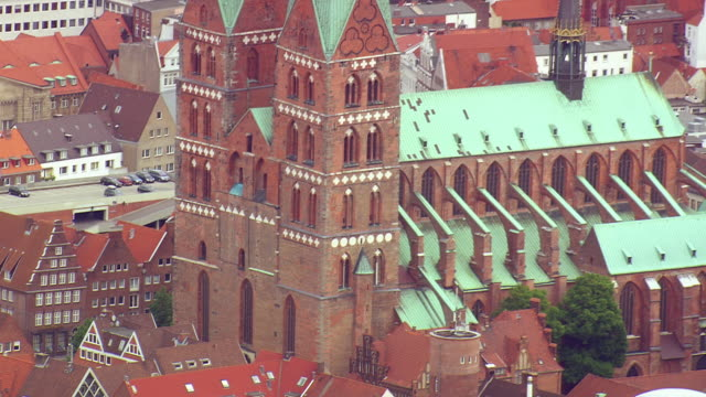 MS AERIAL TD ZO Shot of church, houses and building / Germany