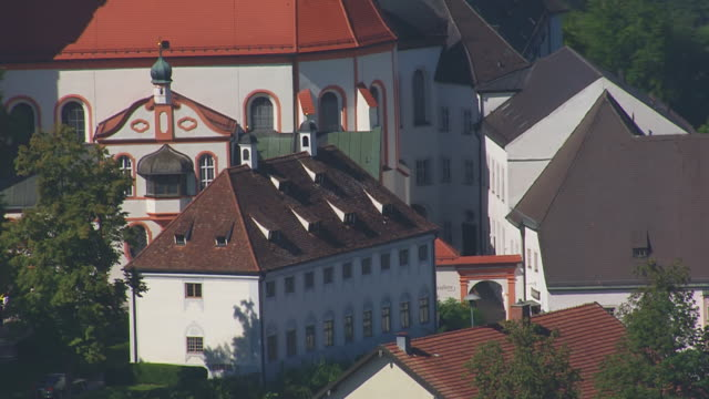 CU AERIAL TS Shot of Church in city in city / Andechs, Bavaria, Germany