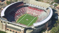 MS AERIAL ZI Shot of circle in to football field at University of Alabama Bryant Denny Stadium football stadium / Tuscaloosa, Alabama, United States