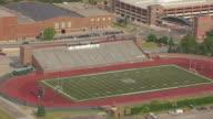 WS AERIAL TS Shot of Circle Memorial Stadium / Grand Forks, North Dakota, United States