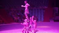 MS TS Shot of Circus performer performing in big top / Xian, Shaanxi, China
