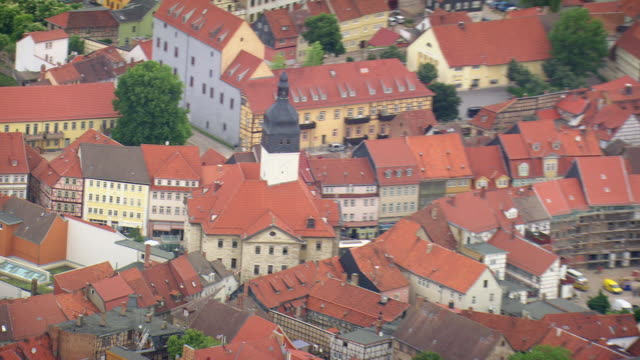 MS AERIAL ZO Shot of city hall and church with houses at Bad Langensalza / Germany
