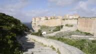WS Shot of City on a cliff, the Citadel / Bonifacio, Corsica, France