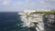 WS Shot of City on Limestone cliffs / Bonifacio, Corsica, France