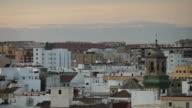 MS Shot of city roofs at sunset / Algeciras, Cadiz, Spain