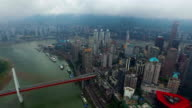 WS AERIAL shot of cityscape and skyline/ Chongqing,China