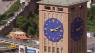 CU AERIAL Shot of clock of Basilica Of National Shrine Of Our Lady Of Aparecida/ Sao Paulo, Brazil