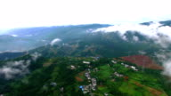 WS AERIAL Shot of Cloud and mist in mountains,Chongqing, China