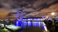 MS T/L Shot of clouds moving over of london eye at evening / London, United Kingdom