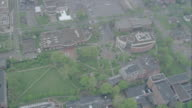 WS DS AERIAL POV Shot of  college campus / Unspecified