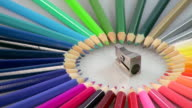 CU Shot of Color pencils with sharpener / Saarburg, Rhineland Palatinate, Germany