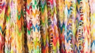 CU R/F Shot of colorful paper peace cranes attached to others / Kyoto, Kanto, Japan