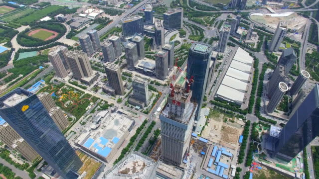 AERIAL shot of Construction site and cityscape/Xi'an,China