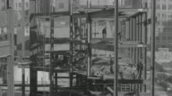 WS HA Shot of construction site at Rockefeller Center, girder-elevators