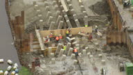 MA AERIAL Shot of construction workers at army corps project / Louisiana, United States