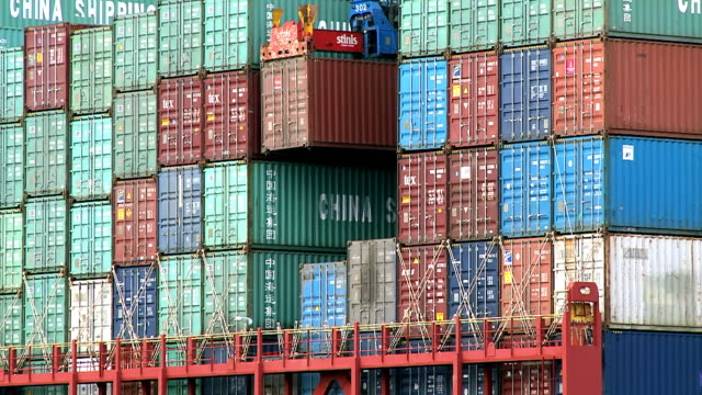 MS Shot of container ship in harbour / Hamburg, Germany