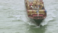 MS AERIAL ZO Shot of container ship Leaving Gironde / Poitou Charentes, France