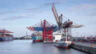 MS PAN Shot of container terminal from cargo ship / Hamburg, Hamburg, Germany