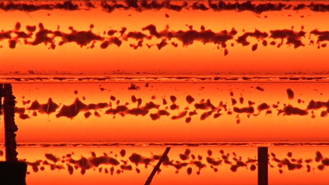 MS Shot of continnous casting line at steel mill / Volklingen, Saarland, Germany