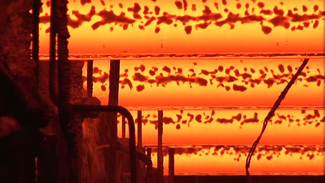 CU Shot of continnous casting line at steel mill / Volklingen, Saarland, Germany