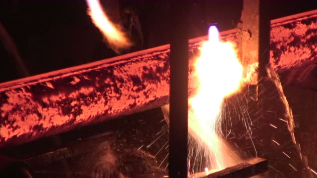 MS Shot of  continuous casting plant  / Mulheim, North Rhine- Westphalia, Germany