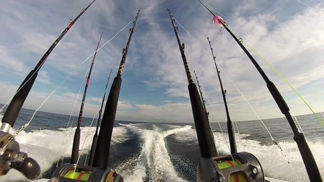 MS POV Shot of conventional tackle fishing reels and rods on sport fishing boat cruising on ocean / Iztapa, Guatemala