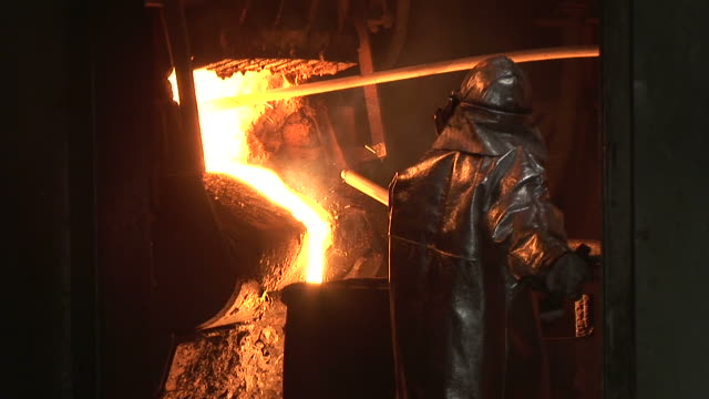 MS Shot of converting furnace at steel mill / Bous, Saarland, Germany