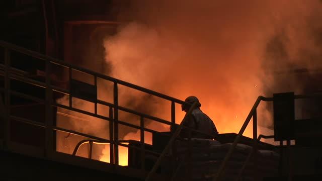 MS PAN Shot of converting furnace at steel mill / Esch sur Alzette, Esch, Luxembourg