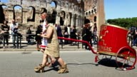 Shot of Costumes parade for the anniversary of the birth of Rome also knowns as 'Natale di Roma' People dressed as ancient romans and gladiators...