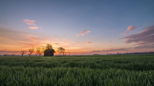 T/L 8K shot of cottage in the field at sunrise
