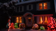 MS Shot of Country home with Christmas lights at night / High Bridgem, New Jersey, United States
