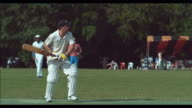 Shot of cricket player hitting ball