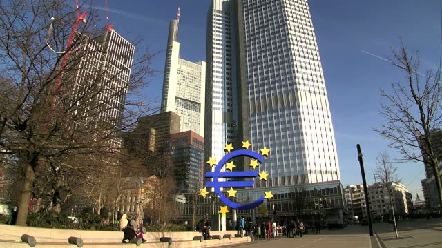 WS Shot of crowded area in city / Frankfurt, Main, Hesse, Germany