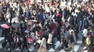 MS T/L Shot of crowds and traffic on Hachiko Crossing daytime / Shibuya, Tokyo, Japan