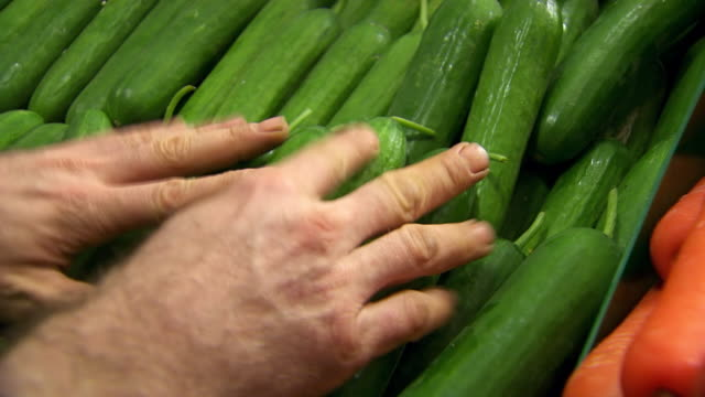 CU Shot of Cucumber being stacked / Sydney, New South Wales, Australia