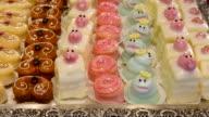 CU Shot of Cupcakes in pastry shop window / Landshut, Bavaria, Germany