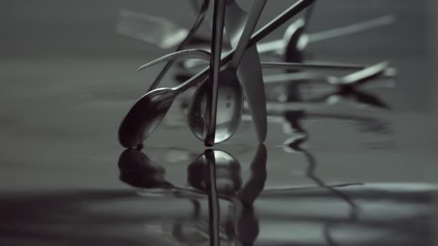 CU SLO MO Shot of cutlery falling down / Seoul, South Korea