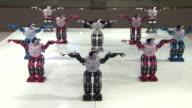 MS Shot of Dancing robots at exhibition hall in 2012 yeosu world expo / Yeosu, Jeollanam-do, South Korea