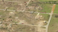 MS AERIAL ZO Shot of debris and devastation of town / Smithville, Mississippi, United States