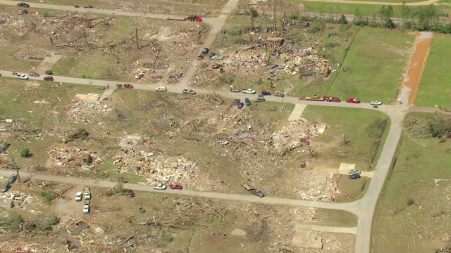 MS AERIAL ZO Shot of debris and devastation of town / Smithville, Mississippi, United States