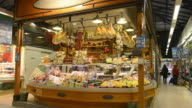 MS Shot of Delicatessen shop with Salami, Cheese and Ham in Ambrogio market / Florence, Tuscany, Italy