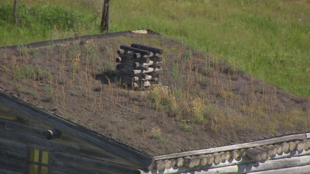 CU AERIAL TS Shot of detail of roof and grass growing on roof of building at Fort Manuel / Kenel, South Dakota, United States