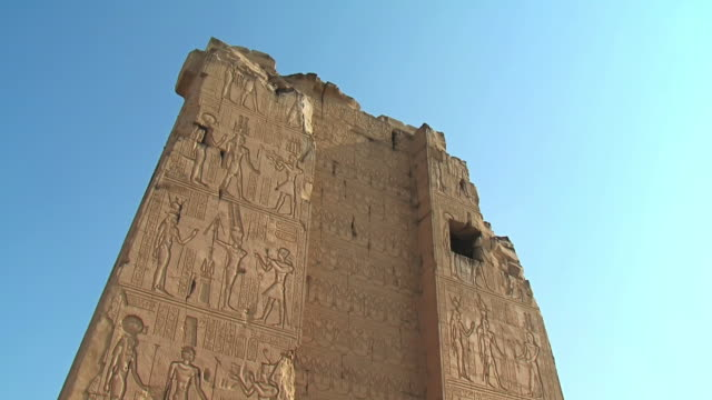 MS LA Shot of Details of temple at Kom Ombo / Aswan, Egypt