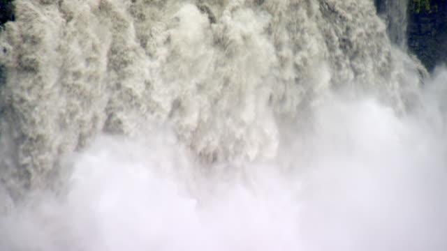 CU AERIAL Shot of Dettifoss waterfall / Iceland