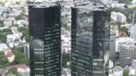 MS Shot of Deutsche Bank building at financial district / Frankfurt/Main, Hesse, Germany