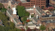 MS AERIAL ZI ZO Shot of different buildings in Yale University city / Connecticut, United States