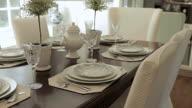 MS PAN Shot of dinning table ins tylish home / Lake Oswego, Oregon, United States