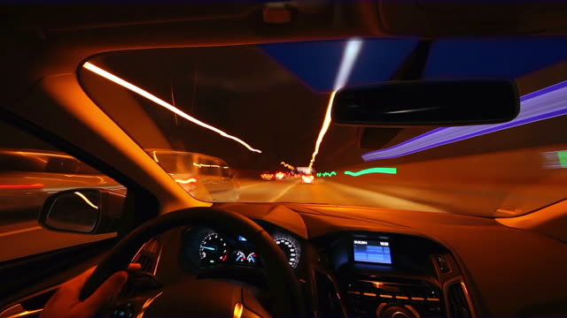 MS T/L Shot of Driving car during rush at dusk / Cologne, North Rhine Westphalia, Germany