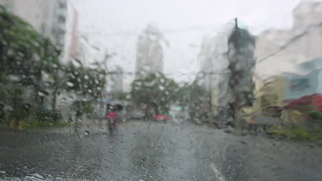 MS POV Shot of driving through Sao Paulo with extreme heavy rain / Sao Paulo, Brazil