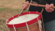 CU Shot of Drum sticks hitting drum as drummer boy playing  / Gettysburg, Virginia, United States